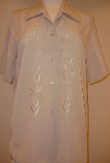 Nicole Lewis Beige Embroidered Blouse