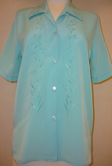 Nicole Lewis Aqua Embroidered Blouse