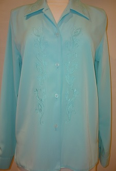 Nicole Lewis Embroidered Blouse II - Aqua