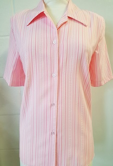 Nicole Lewis Rever Collar Button Neck Blouse - Soft Pink