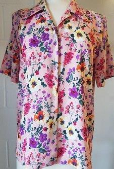 Nicole Lewis Floral Shirt Collar Blouse - Pink Floral