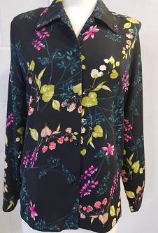 Nicole Lewis L/S Blouse - Black/Multi Floral