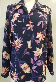 Nicole Lewis L/S Blouse - Navy/Floral design