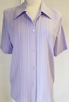 Nicole Lewis Short Sleeve Blouse - Lilac Stripes