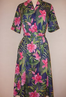 Nicole Lewis Shirt Dress - Navy/Green/Pink