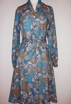 Nicole Lewis Paisley L/S Dress - Teal