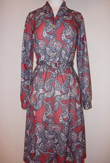 Nicole Lewis Paisley L/S Dress - Red
