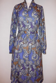 Nicole Lewis Paisley L/S Dress - Royal Blue