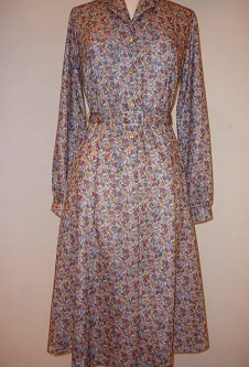 Nicole Lewis Floral Dress L/S - Beige/Rust