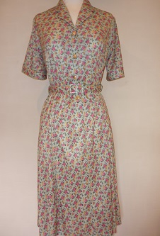 Nicole Lewis Shirt Dress - Small Floral Green/Pink