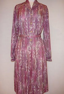 Nicole Lewis L/S Dress - Wine - Abstract
