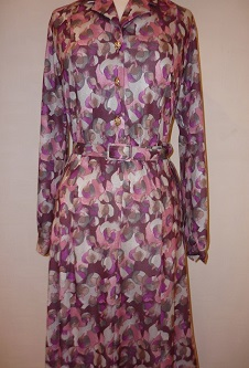 Nicole Lewis Shirt Dress w/ collar - Wine Multi