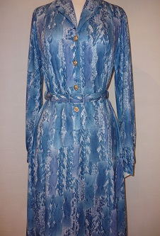 Nicole Lewis Shirt Dress w/ collar - Blue Abstract