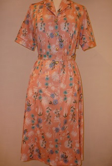Nicole Lewis Shirt Dress with belt - Peach Floral