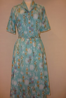 Nicole Lewis Shirt Dress with belt - Aqua Floral