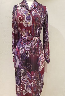 Nicole Lewis Collar Dress Long Sleeve - Burgandy/Mauve/Lilac Paisley