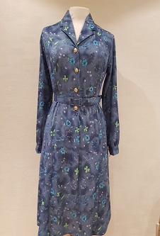 Nicole Lewis Collar Dress Long Sleeve - Teal Floral