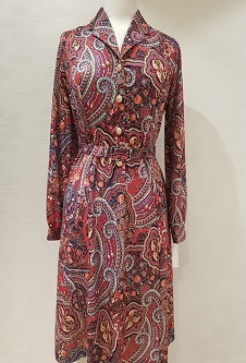 Collar Dress Long Sleeve - Rust/Red Paisley