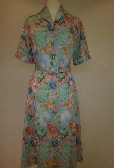 Nicole Lewis Shirt collar dress w/belt - Turquoise Floral