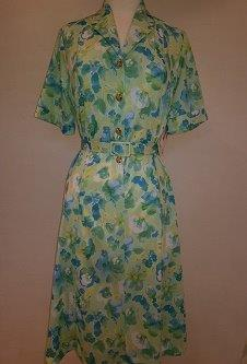 Nicole Lewis Shirt collar dress w/belt - Mint Green Floral