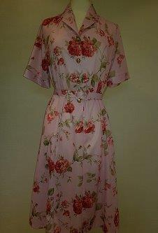 Nicole Lewis Shirt collar dress w/belt - Pink/Rose Floral
