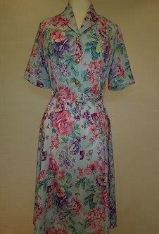 Nicole Lewis Shirt collar dress w/belt - Sky Blue/Rose Floral