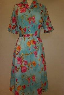 Nicole Lewis Shirt collar dress w/belt - Turquoise/Fuschia Floral