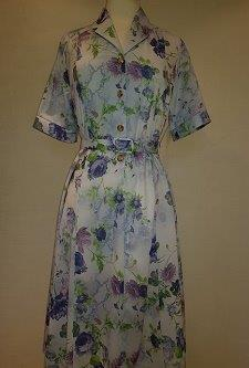 Nicole Lewis Shirt collar dress w/belt - Blue/Lilac Floral
