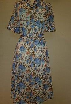 Nicole Lewis Shirt collar dress w/belt - Blue/White Floral