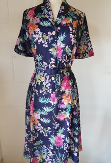 Nicole Lewis Short Sleeved Dress - Navy Floral