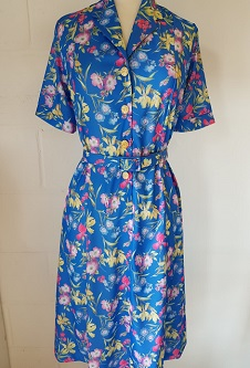 Nicole Lewis Short Sleeved Dress - Blue Floral