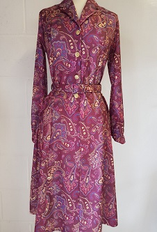 Nicole Lewis L/S Collar Dress - Wine/Pink Paisley