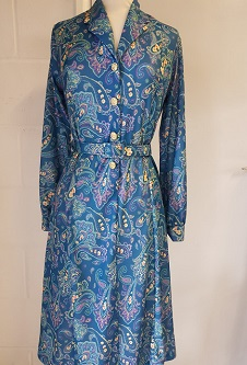 Nicole Lewis L/S Collar Dress - Teal Paisley