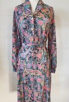 Nicole Lewis Long Sleeve Collar Dress - Multicoloured Paisley