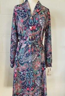 Nicole Lewis Long Sleeve Collar Dress - Navy/Red Paisley