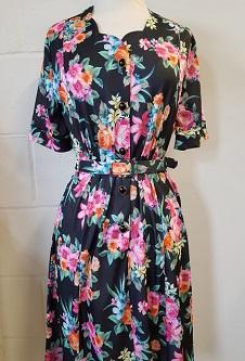 Nicole Lewis Sweetheart Neck Dress - Black/Multi Floral