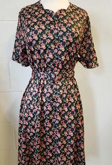 Nicole Lewis Sweetheart Neck Dress - Black/Rust Floral