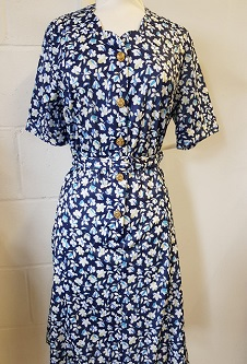 Nicole Lewis Sweetheart Neck Dress - Navy/Blue/White Floral