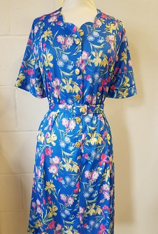 Nicole Lewis Sweetheart Neck Dress - Blue Floral