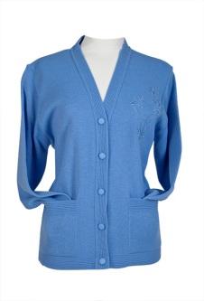 Embroidered Cardigan - Cornflower Blue