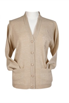 Embroidered Cardigan - Oatmeal