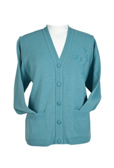 Embroidered Cardigan - Dusty Green