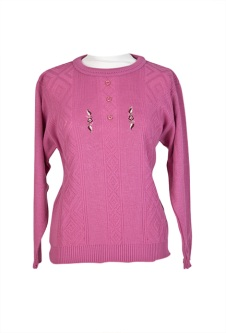 Long Sleeve Embroidered Jumper - Pink
