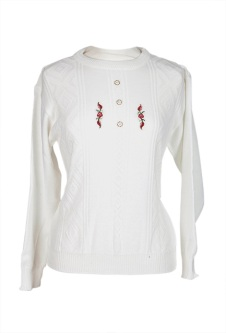Long Sleeve Embroidered Jumper - White