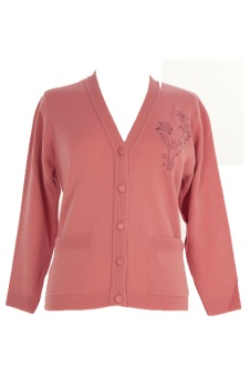 Nicole Lewis Embroidered Cardigan - Pink