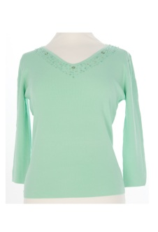Nicole Lewis Sequin Top V - Mint Green