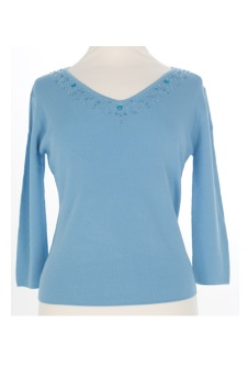 Nicole Lewis Sequin Top V - Blue