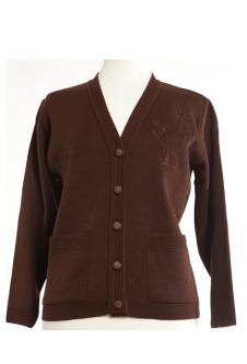 Nicole Lewis Embroidered Cardigan - Brown