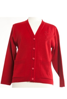 Embroidered Cardigan - Red