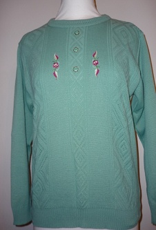 Long Sleeve Embroidered Jumper - Green